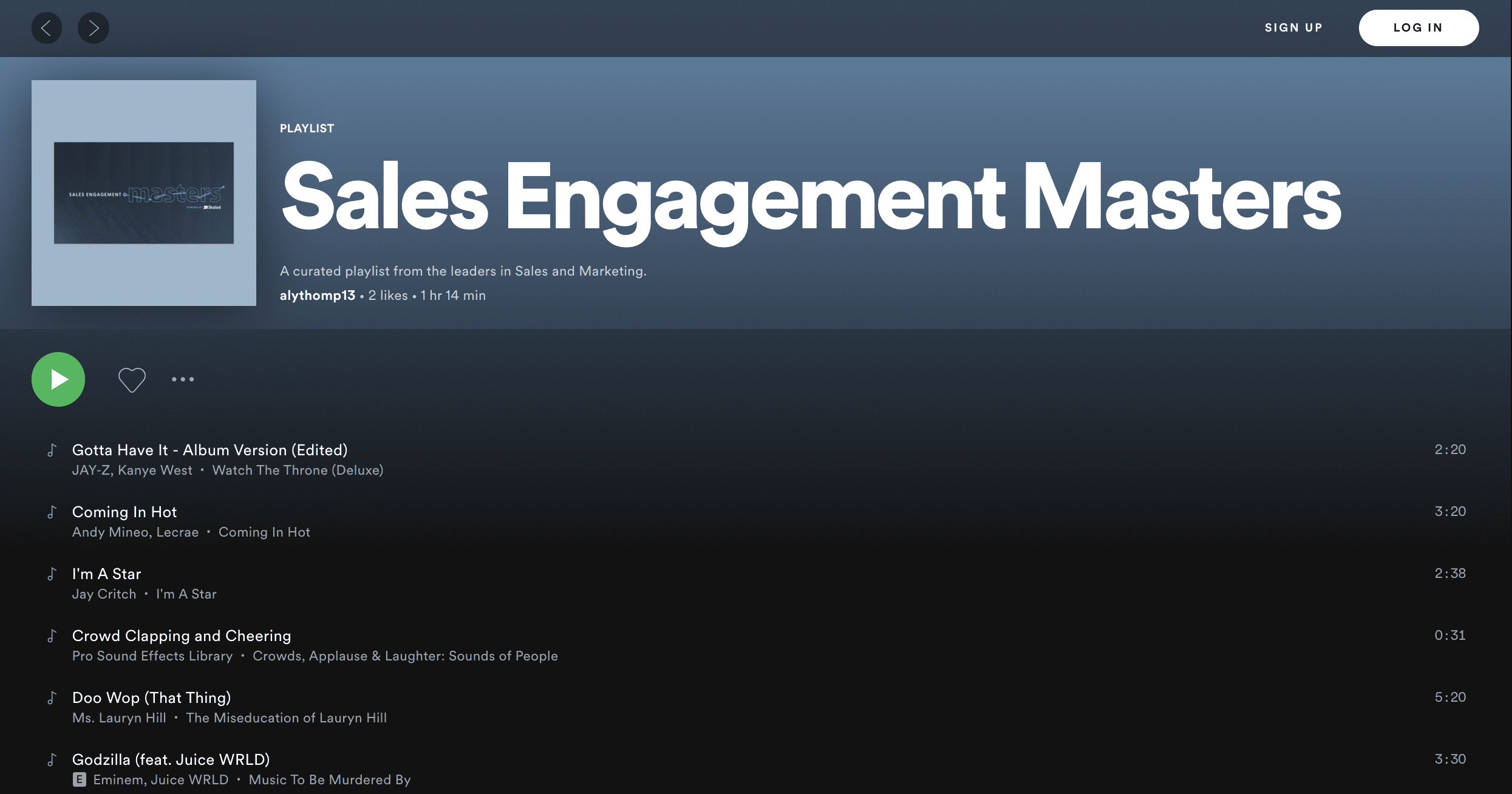 sales engagement masters Spotify playlist